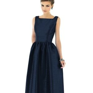 New Alfred Sung Square Neck Dupioni Long Dress